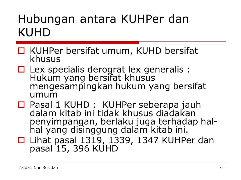 Hubungan antara KUHPer dan KUHD