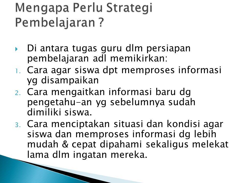 Mengapa Perlu Strategi Pembelajaran