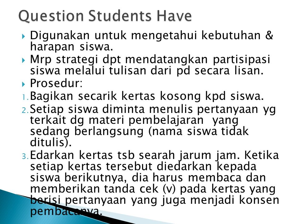 Question Students Have