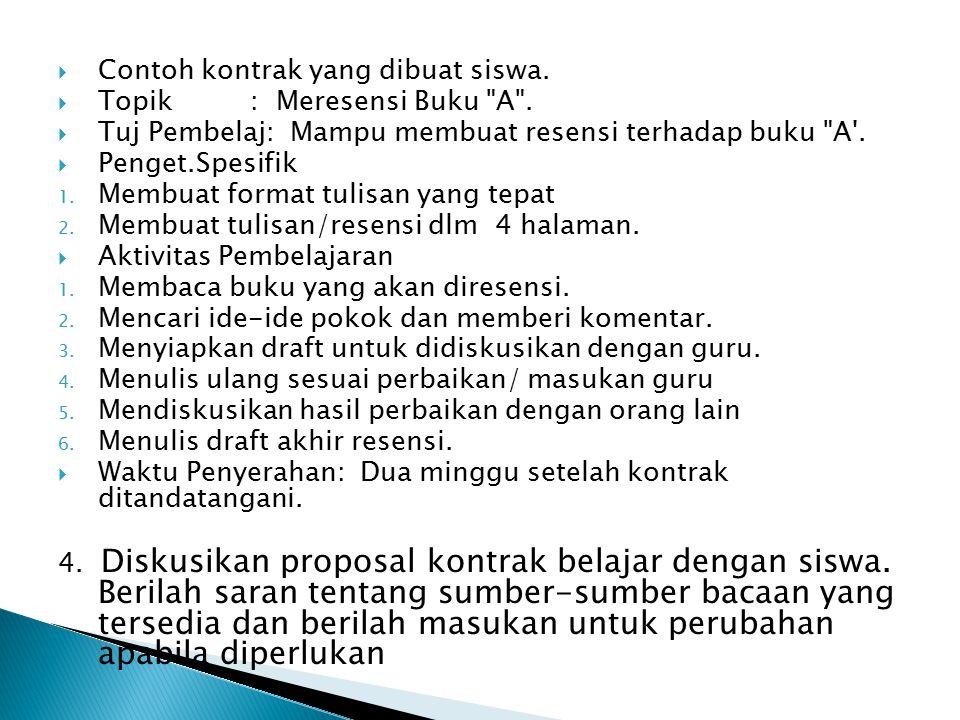 Contoh kontrak yang dibuat siswa.