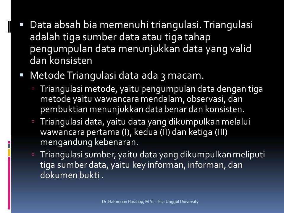 Metode Triangulasi data ada 3 macam.