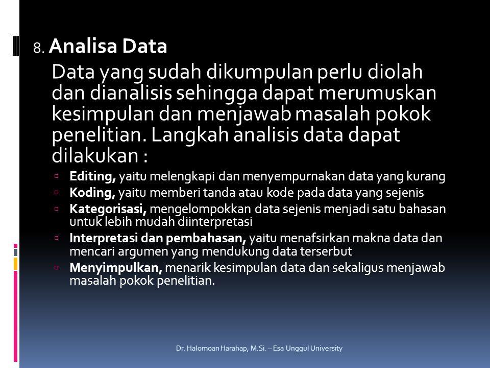 8. Analisa Data