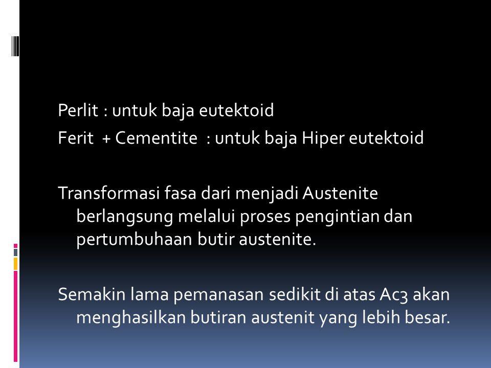 Perlit : untuk baja eutektoid Ferit + Cementite : untuk baja Hiper eutektoid Transformasi fasa dari menjadi Austenite berlangsung melalui proses pengintian dan pertumbuhaan butir austenite.