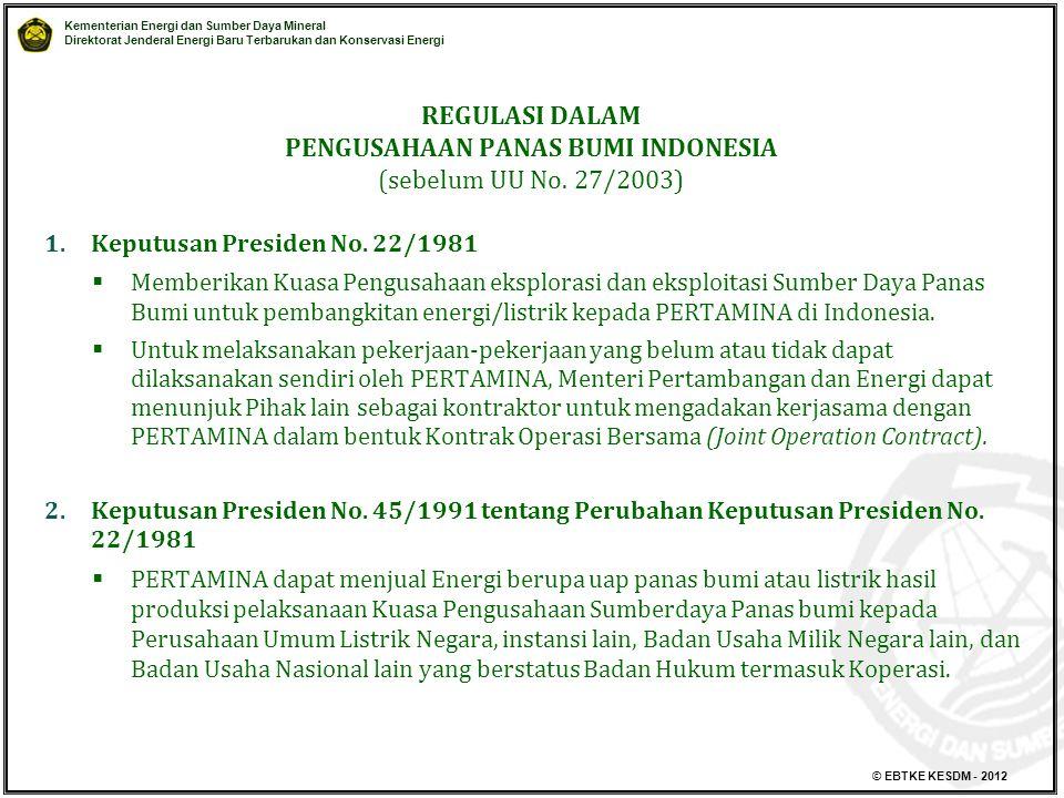 REGULASI DALAM PENGUSAHAAN PANAS BUMI INDONESIA (sebelum UU No