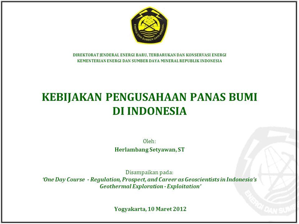 KEBIJAKAN PENGUSAHAAN PANAS BUMI DI INDONESIA