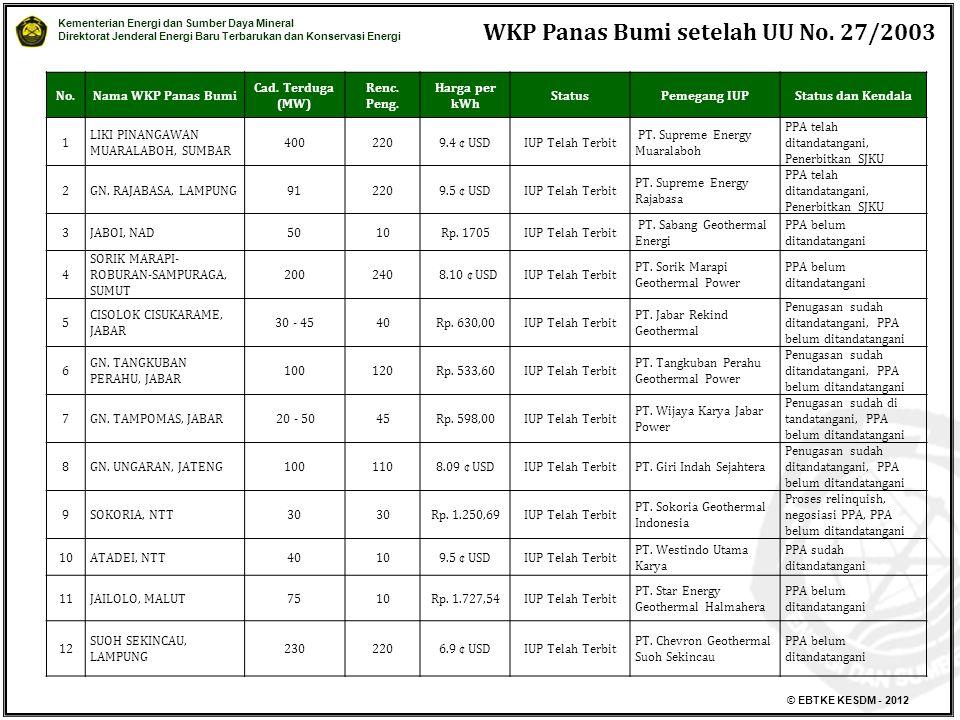 WKP Panas Bumi setelah UU No. 27/2003
