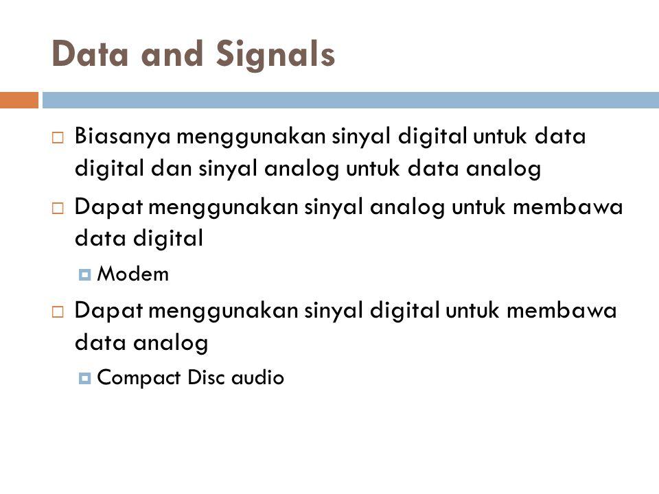 Data and Signals Biasanya menggunakan sinyal digital untuk data digital dan sinyal analog untuk data analog.