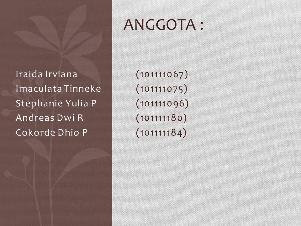 Anggota : Iraida Irviana (101111067) Imaculata Tinneke (101111075)