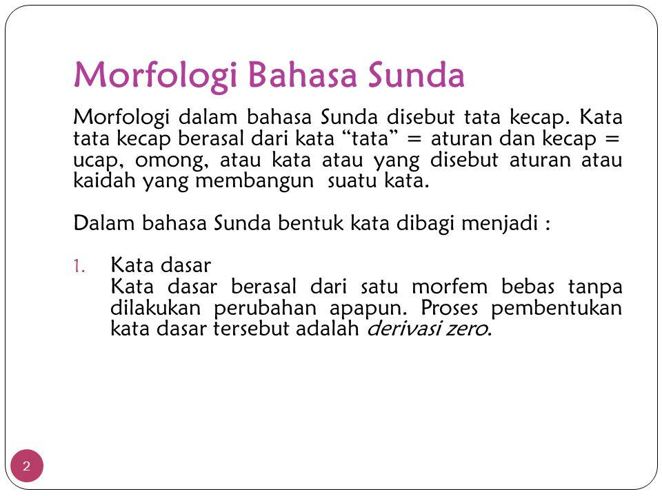 Morfologi Bahasa Sunda