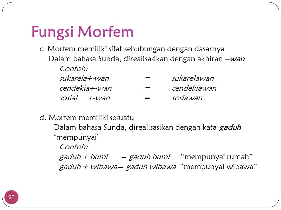 Fungsi Morfem Dalam bahasa Sunda, direalisasikan dengan akhiran –wan