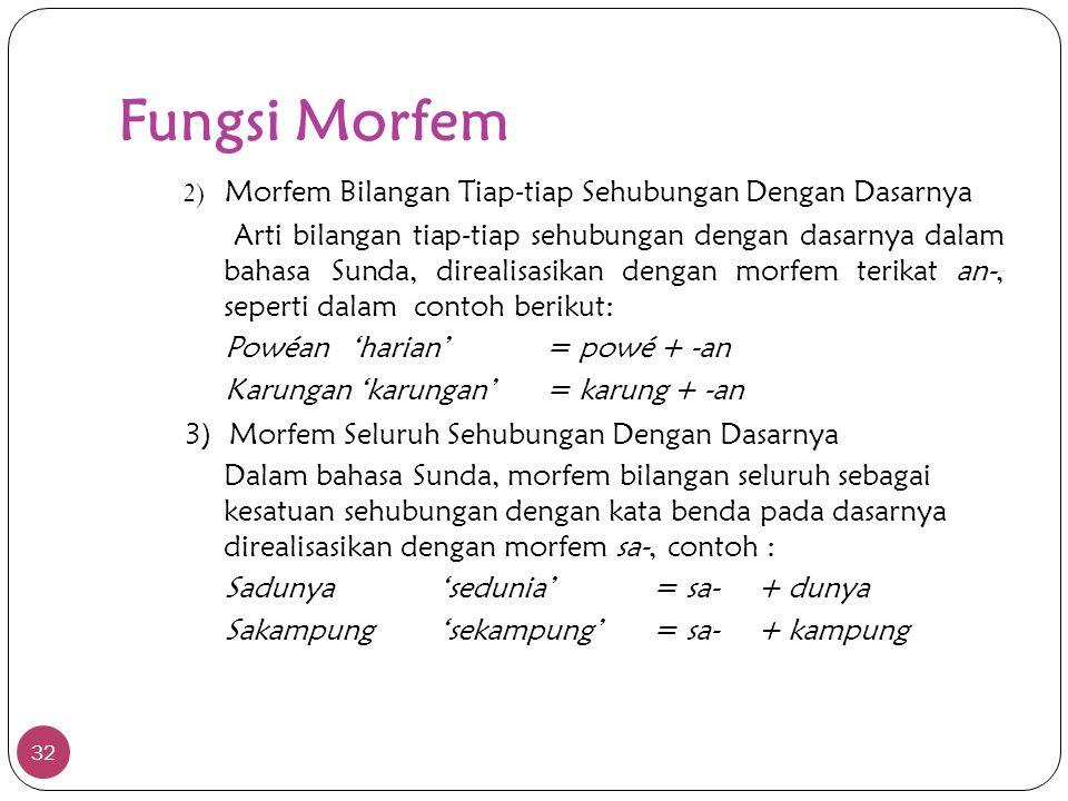 Fungsi Morfem 2) Morfem Bilangan Tiap-tiap Sehubungan Dengan Dasarnya.