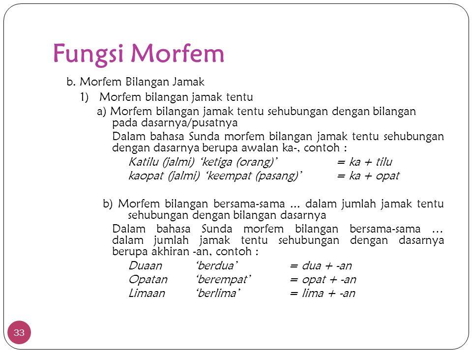 Fungsi Morfem 1) Morfem bilangan jamak tentu