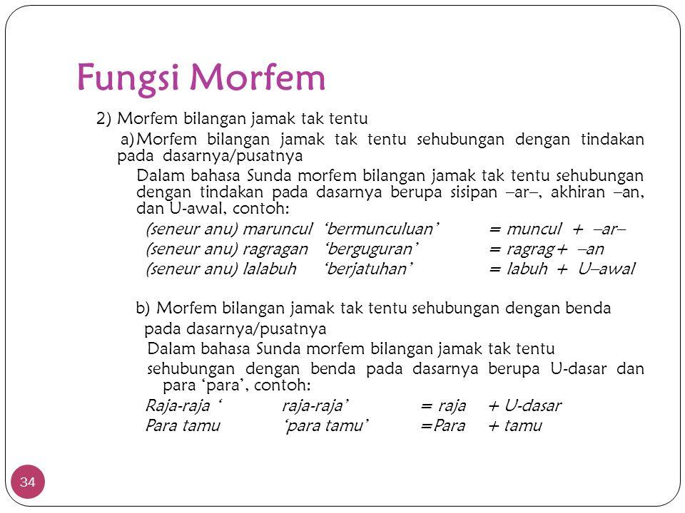 Fungsi Morfem 2) Morfem bilangan jamak tak tentu. a) Morfem bilangan jamak tak tentu sehubungan dengan tindakan pada dasarnya/pusatnya.