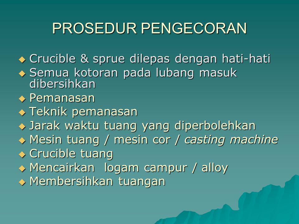 PROSEDUR PENGECORAN Crucible & sprue dilepas dengan hati-hati