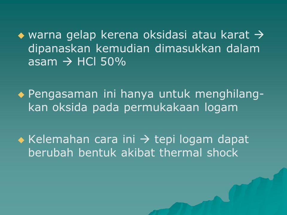 warna gelap kerena oksidasi atau karat  dipanaskan kemudian dimasukkan dalam asam  HCl 50%