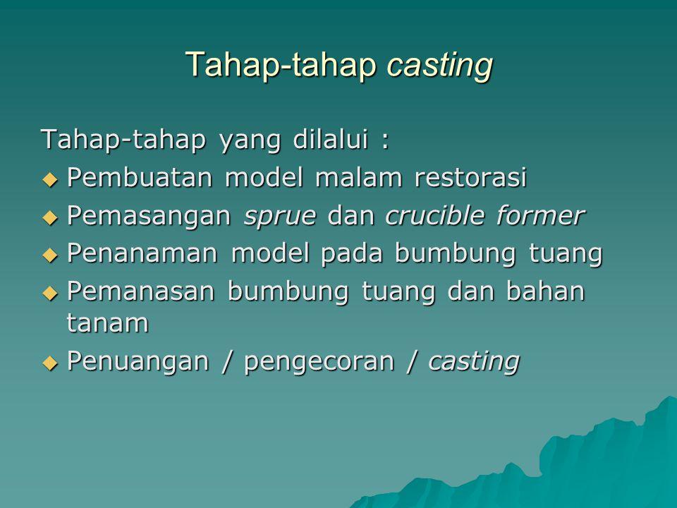 Tahap-tahap casting Tahap-tahap yang dilalui :