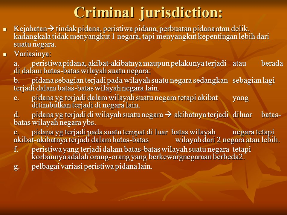 Criminal jurisdiction: