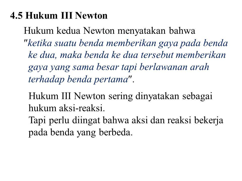 4.5 Hukum III Newton Hukum kedua Newton menyatakan bahwa.