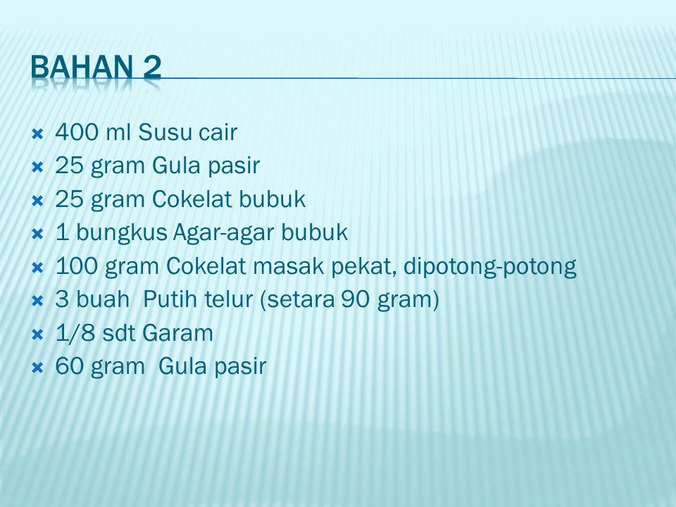 Bahan 2 400 ml Susu cair 25 gram Gula pasir 25 gram Cokelat bubuk
