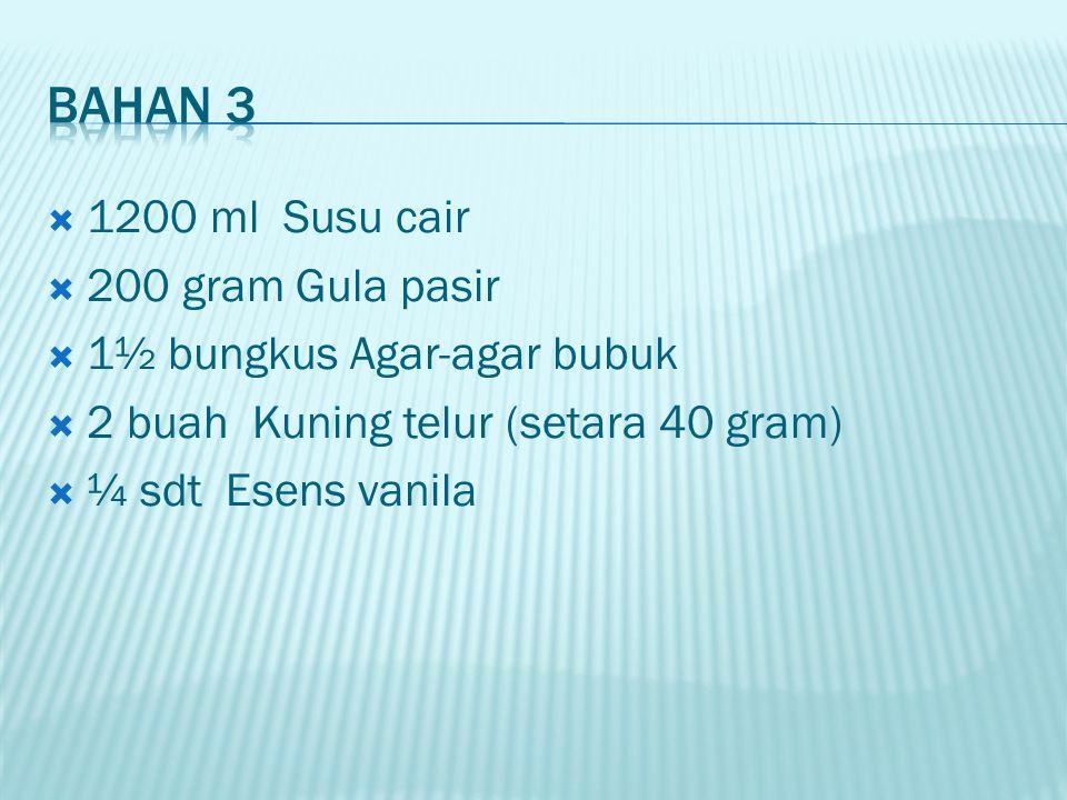 Bahan 3 1200 ml Susu cair 200 gram Gula pasir