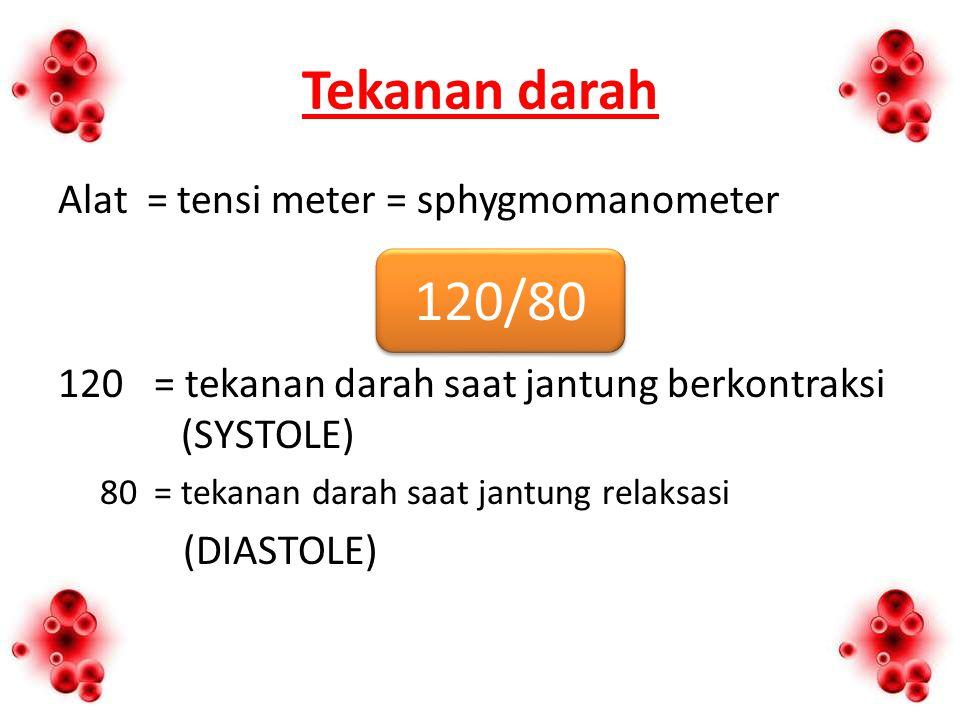 Tekanan darah 120/80 Alat = tensi meter = sphygmomanometer