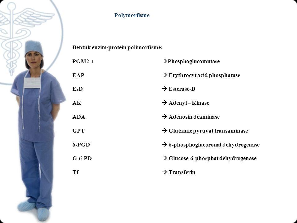 Polymorfisme Bentuk enzim/protein polimorfisme: PGM2-1 Phosphoglucomutase. EAP  Erythrocyt acid phosphatase.