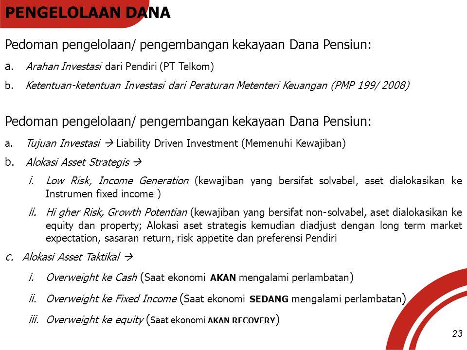 PENGELOLAAN DANA Pedoman pengelolaan/ pengembangan kekayaan Dana Pensiun: Arahan Investasi dari Pendiri (PT Telkom)