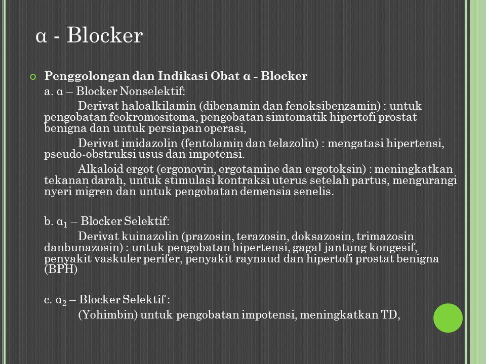 α - Blocker Penggolongan dan Indikasi Obat α - Blocker