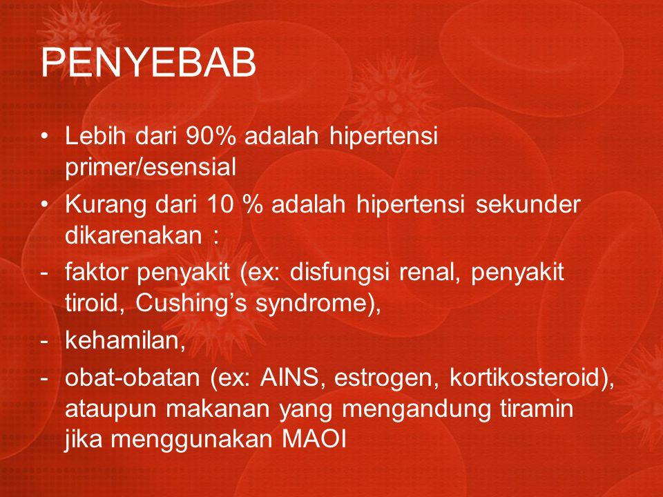 PENYEBAB Lebih dari 90% adalah hipertensi primer/esensial