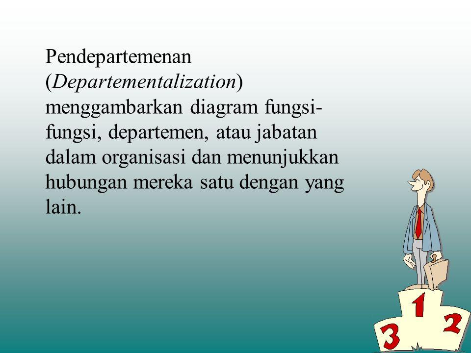 Pendepartemenan (Departementalization) menggambarkan diagram fungsi-fungsi, departemen, atau jabatan dalam organisasi dan menunjukkan hubungan mereka satu dengan yang lain.