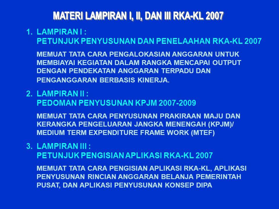 MATERI LAMPIRAN I, II, DAN III RKA-KL 2007