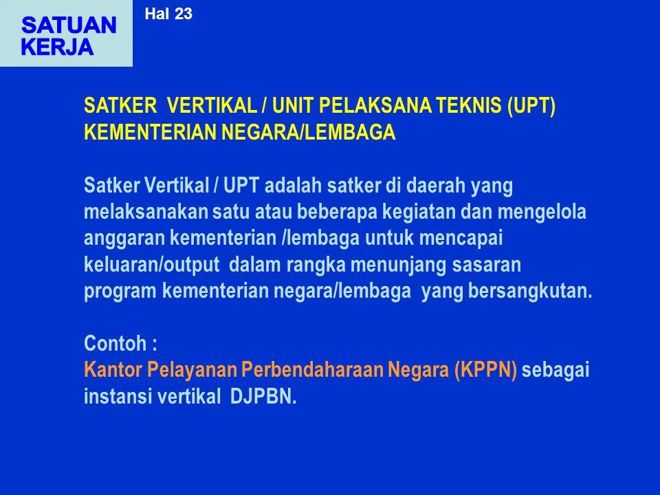 Hal 23 SATUAN. KERJA. SATKER VERTIKAL / UNIT PELAKSANA TEKNIS (UPT) KEMENTERIAN NEGARA/LEMBAGA.