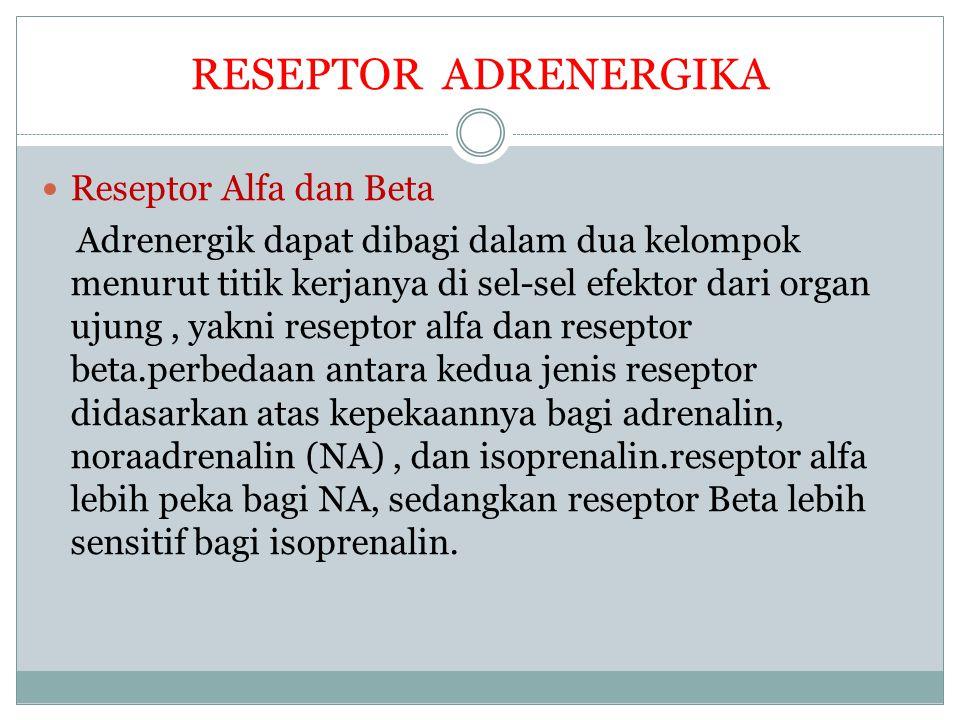 RESEPTOR ADRENERGIKA Reseptor Alfa dan Beta
