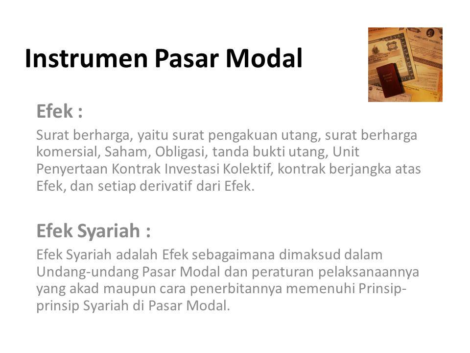 Instrumen Pasar Modal Efek : Efek Syariah :