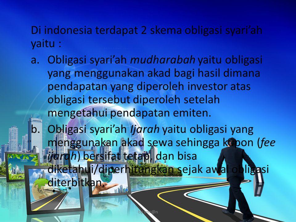 Di indonesia terdapat 2 skema obligasi syari'ah yaitu :