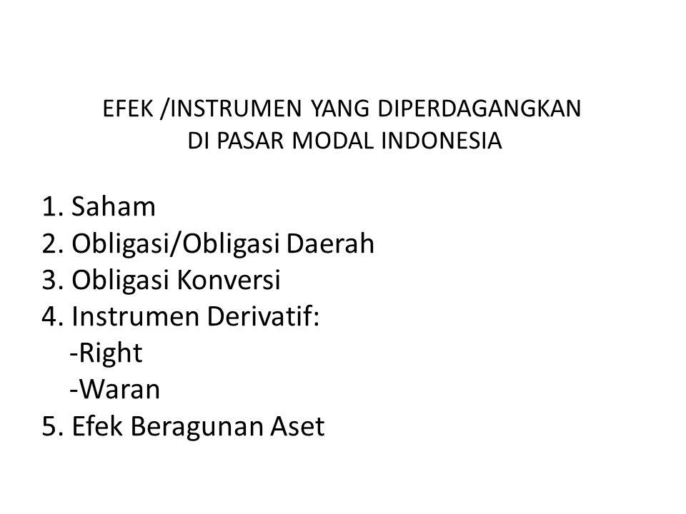 EFEK /INSTRUMEN YANG DIPERDAGANGKAN DI PASAR MODAL INDONESIA 1.