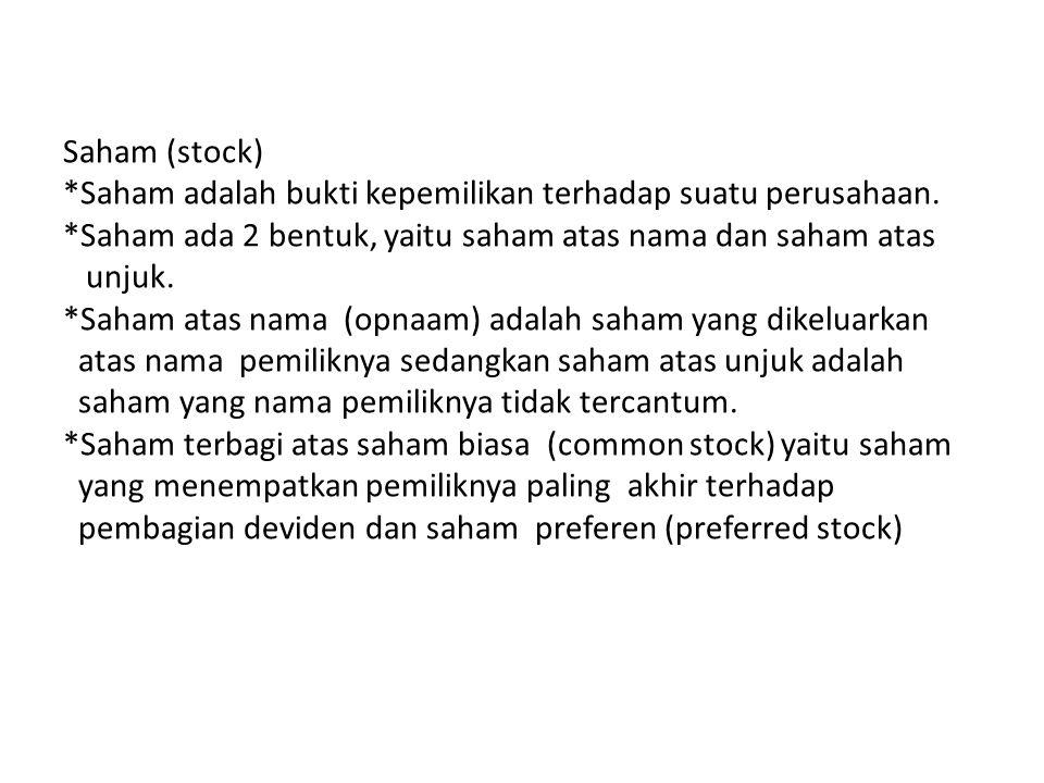 Saham (stock) *Saham adalah bukti kepemilikan terhadap suatu perusahaan.