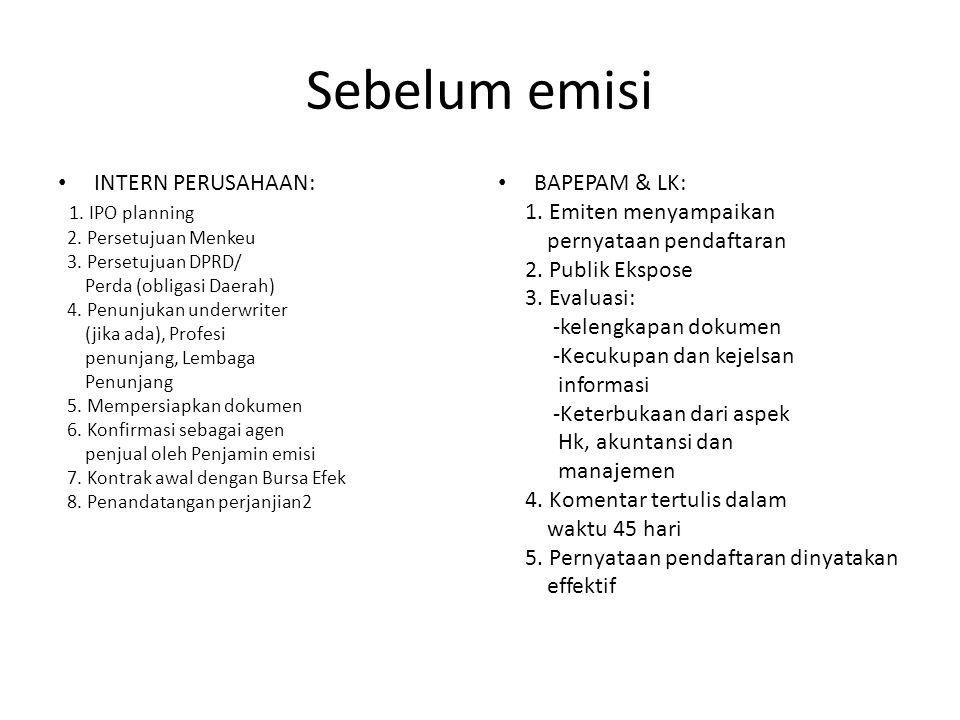Sebelum emisi INTERN PERUSAHAAN: 1. IPO planning BAPEPAM & LK:
