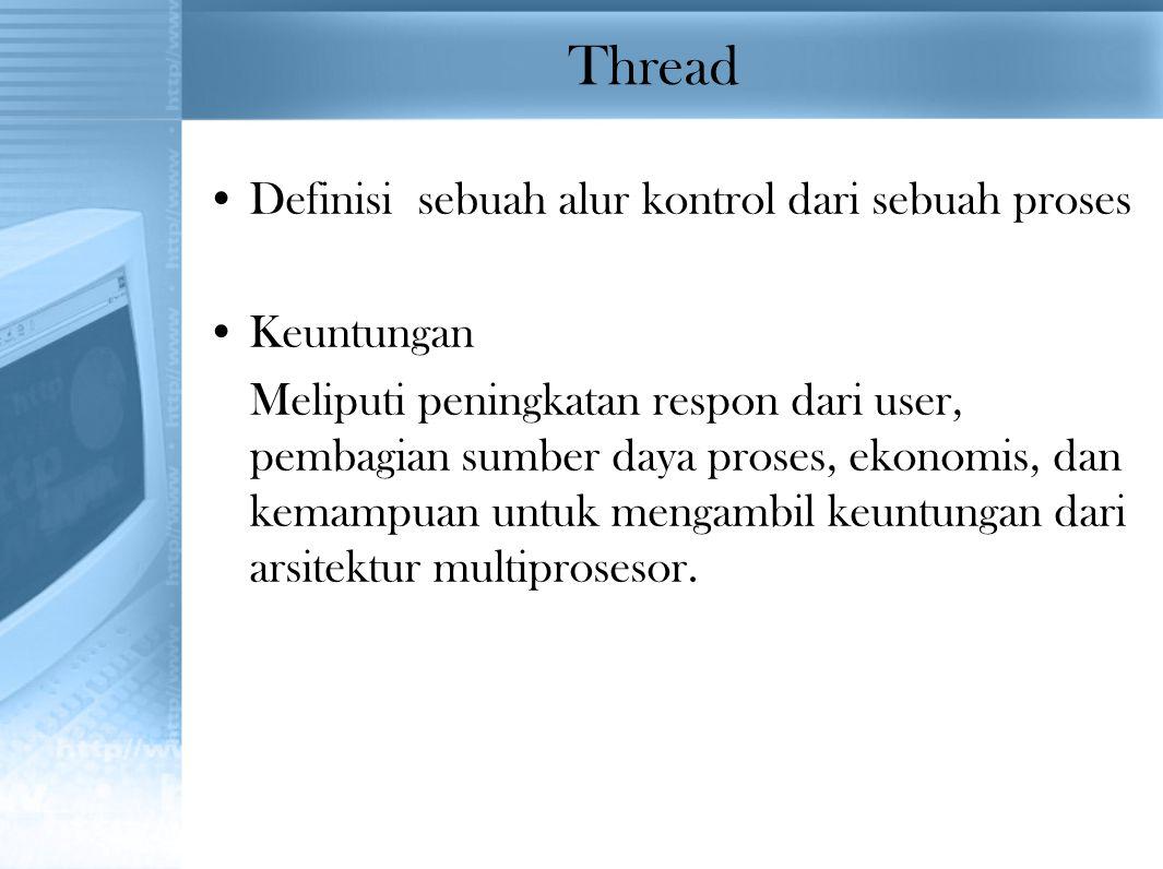 Thread Definisi sebuah alur kontrol dari sebuah proses Keuntungan