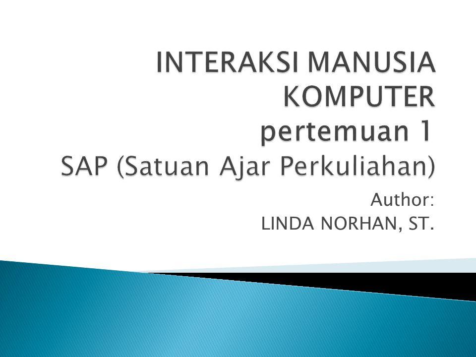 INTERAKSI MANUSIA KOMPUTER pertemuan 1 SAP (Satuan Ajar Perkuliahan)