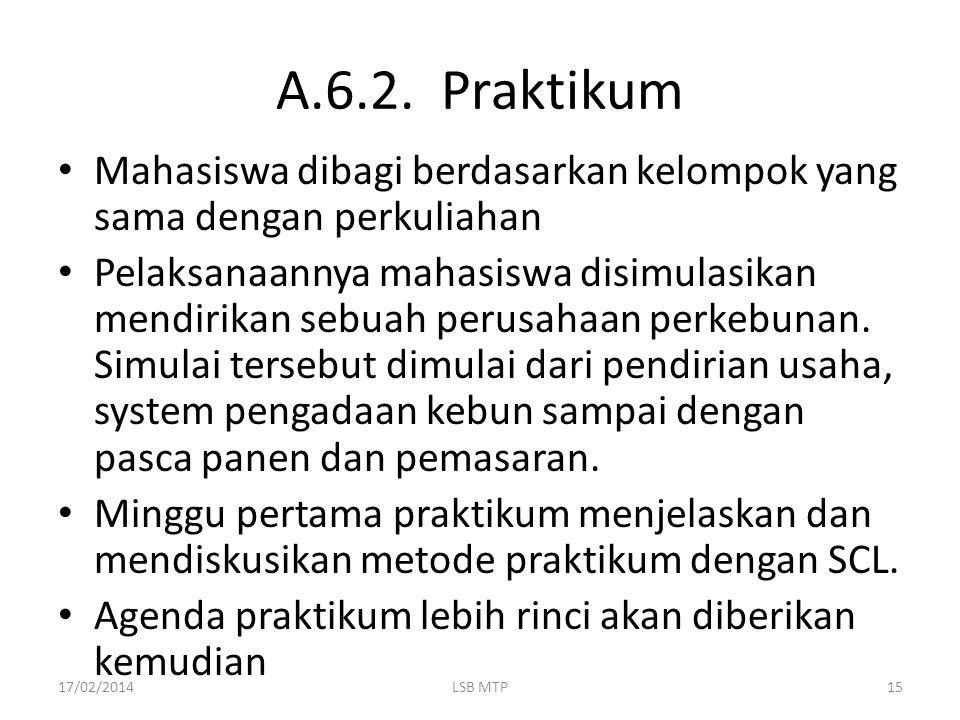 A.6.2. Praktikum Mahasiswa dibagi berdasarkan kelompok yang sama dengan perkuliahan.