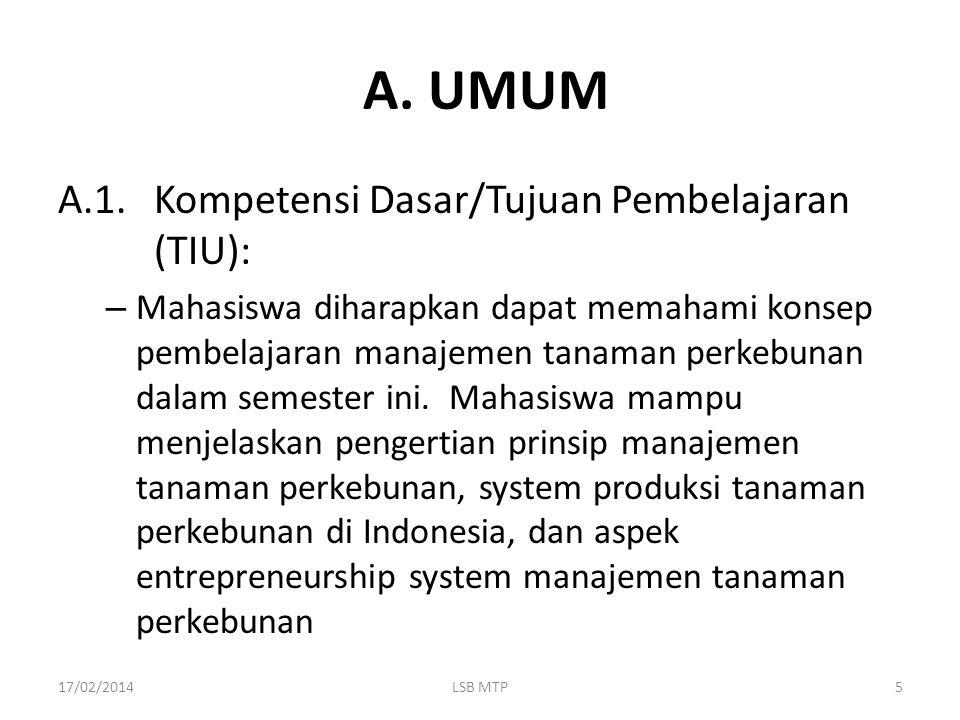 A. UMUM A.1. Kompetensi Dasar/Tujuan Pembelajaran (TIU):