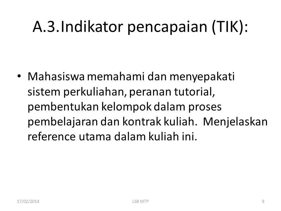 A.3. Indikator pencapaian (TIK):