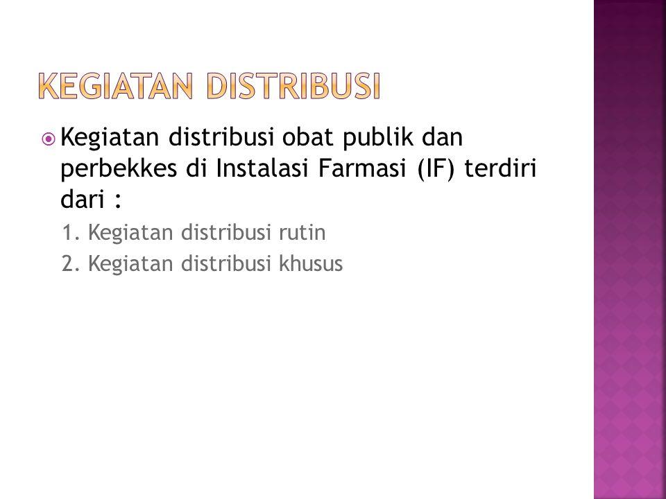 Kegiatan distribusi Kegiatan distribusi obat publik dan perbekkes di Instalasi Farmasi (IF) terdiri dari :