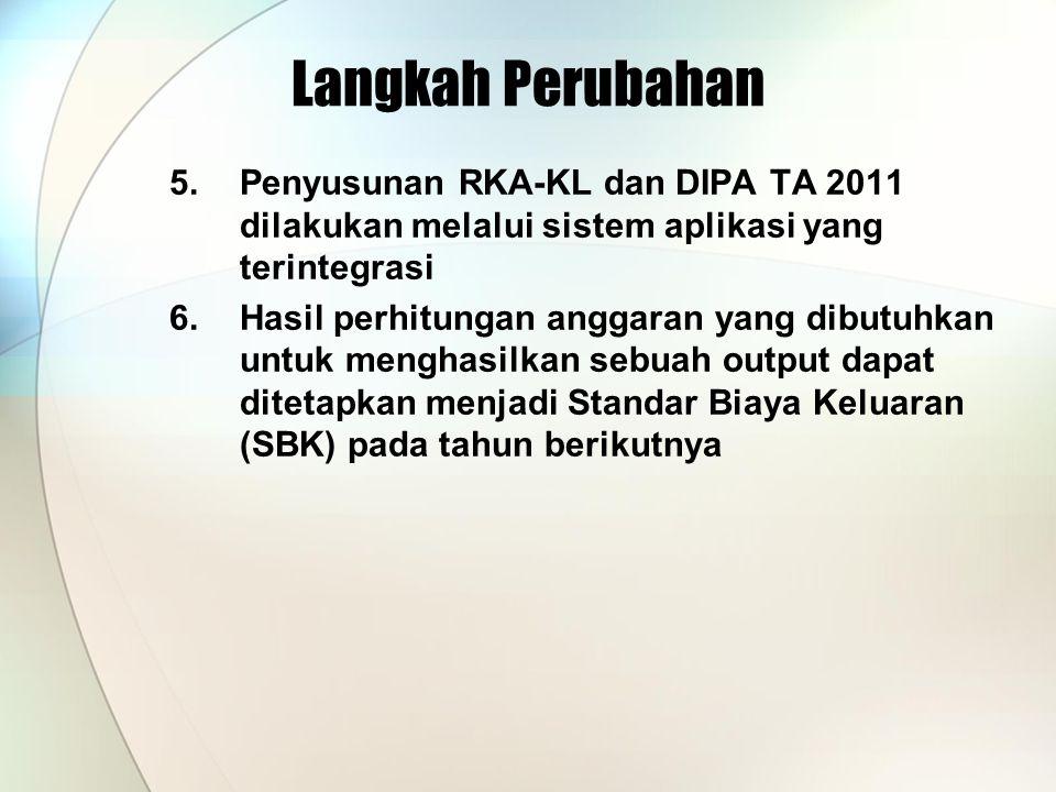 Langkah Perubahan Penyusunan RKA-KL dan DIPA TA 2011 dilakukan melalui sistem aplikasi yang terintegrasi.