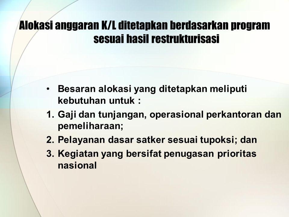 Alokasi anggaran K/L ditetapkan berdasarkan program sesuai hasil restrukturisasi