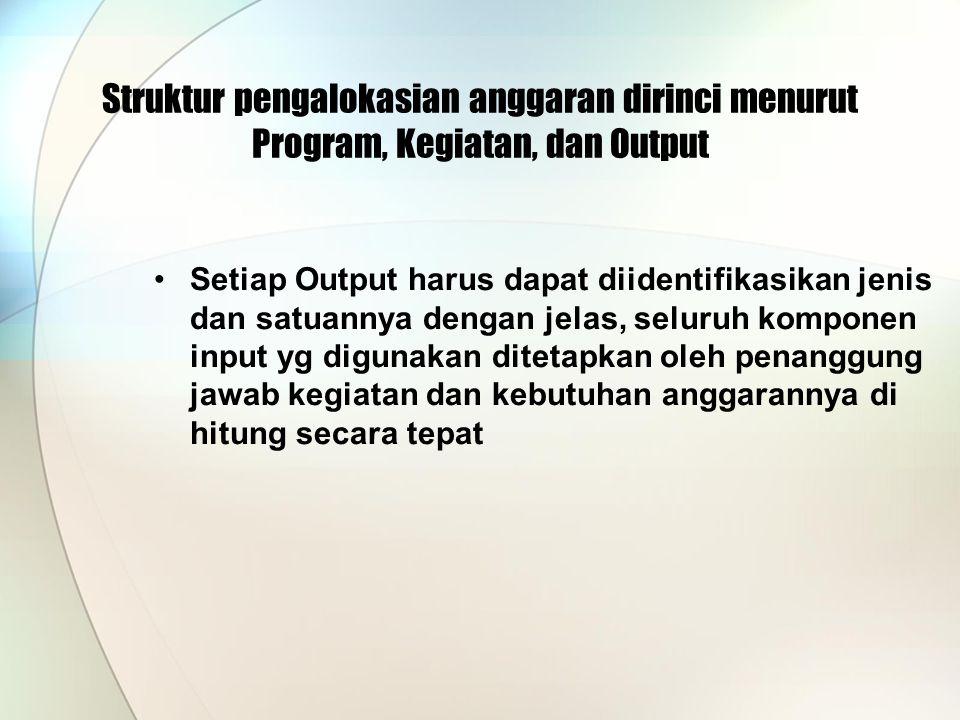 Struktur pengalokasian anggaran dirinci menurut Program, Kegiatan, dan Output