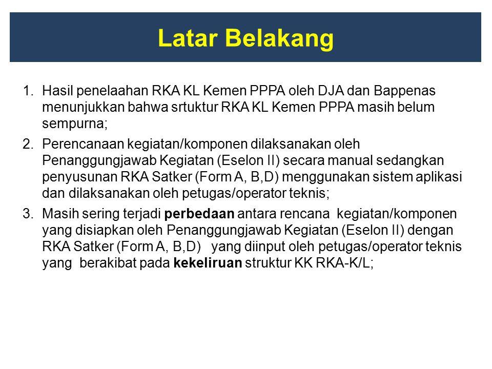 Latar Belakang Hasil penelaahan RKA KL Kemen PPPA oleh DJA dan Bappenas menunjukkan bahwa srtuktur RKA KL Kemen PPPA masih belum sempurna;