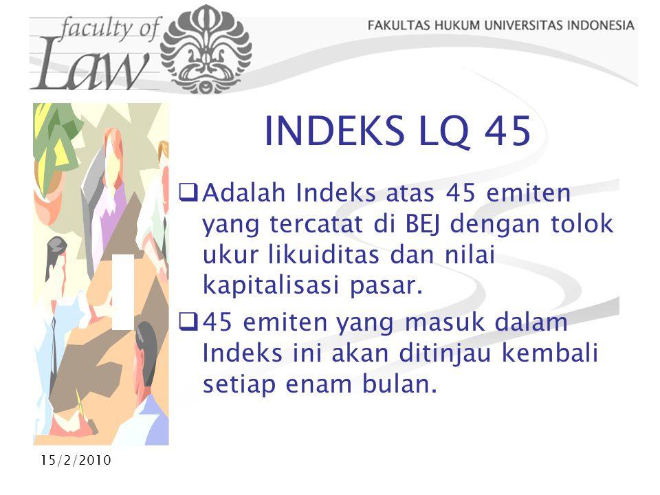 INDEKS LQ 45 Adalah Indeks atas 45 emiten yang tercatat di BEJ dengan tolok ukur likuiditas dan nilai kapitalisasi pasar.