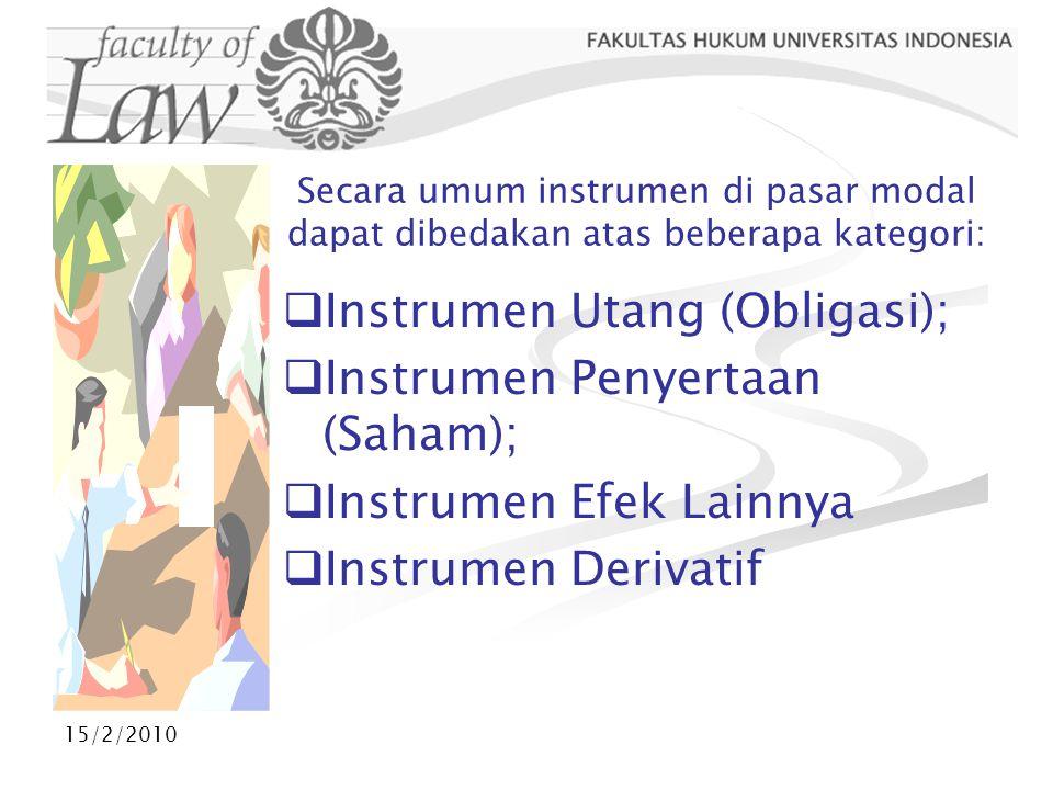 Instrumen Utang (Obligasi); Instrumen Penyertaan (Saham);